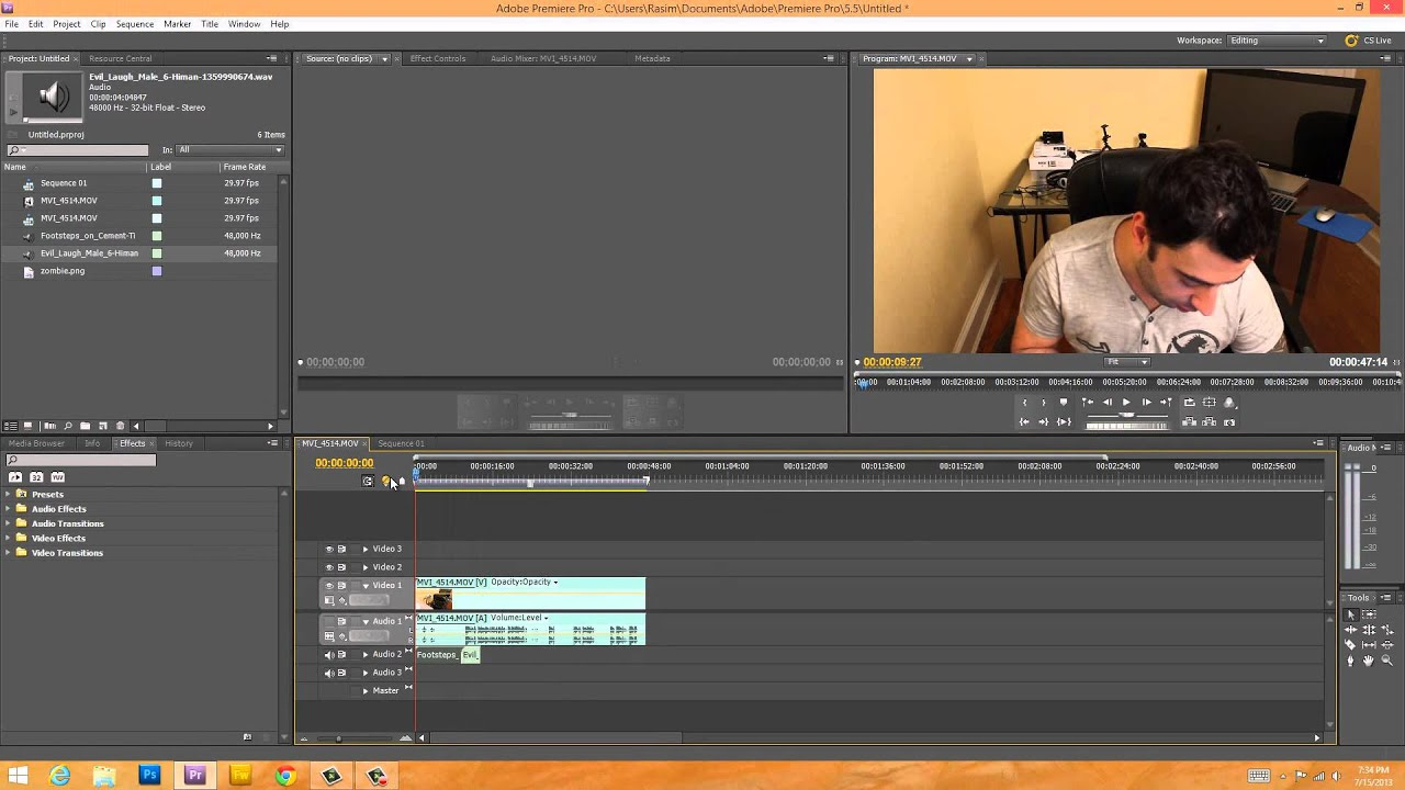 Beginner Adobe Premiere Pro CS5 Tutorial - 4 - Adding Audio, Images and Video to Timeline