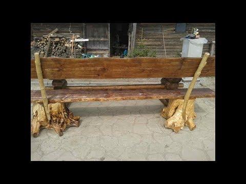 садовая скамейка со спинкой из дерева своими руками фото