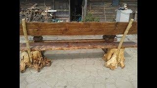 Садовая скамейка из  дерева своими руками // Скамейка из пней