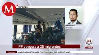 Interceptan a 25 migrantes en camión de pasajeros