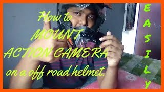 How to mount action camera on a off road helmet. Simple and easy way to install your camera.