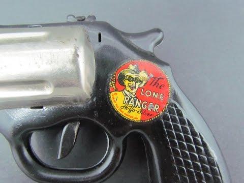 Vintage 1938 Marx Toys Pressed Steel Lone Ranger Hi Yo Silver Click Pistol Cap Gun - Bergen Pickers