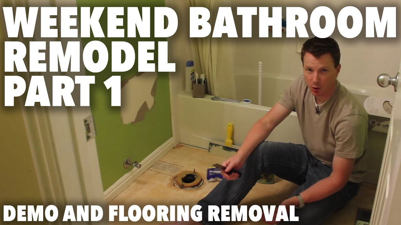 Weekend Bathroom Remodel Part 1  Demo and Flooring Removal   YouTube. Tile Bathroom Remodeling Part 1. Home Design Ideas