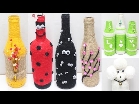 Glass bottle decoration ideas with wool | glass bottle craft idea easy