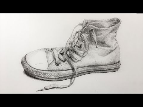 How to Draw an Old Shoe with Pencil - Time Lapse Drawing