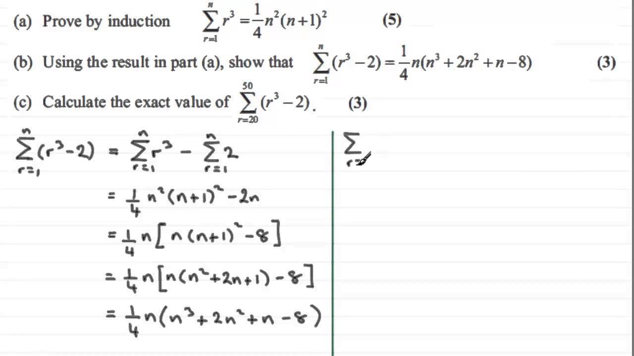 Summing Series Fp1 Edexcel January 2012 Q6bc Examsolutions