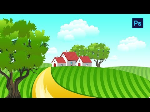 #Photoshop Tutorial - How to Draw House inside green Field