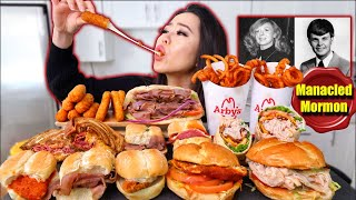 Huge ARBY'S BURGERS + CURLY FRIES + FRIED CHEESE MUKBANG 먹방 | Eating Show