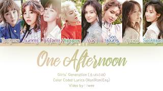 ✧all rights administered by sm entertainment all reserved. ✧girls' generation (소녀시대) - one afternoon (어떤 오후) lyrics korean, romanization with english ...
