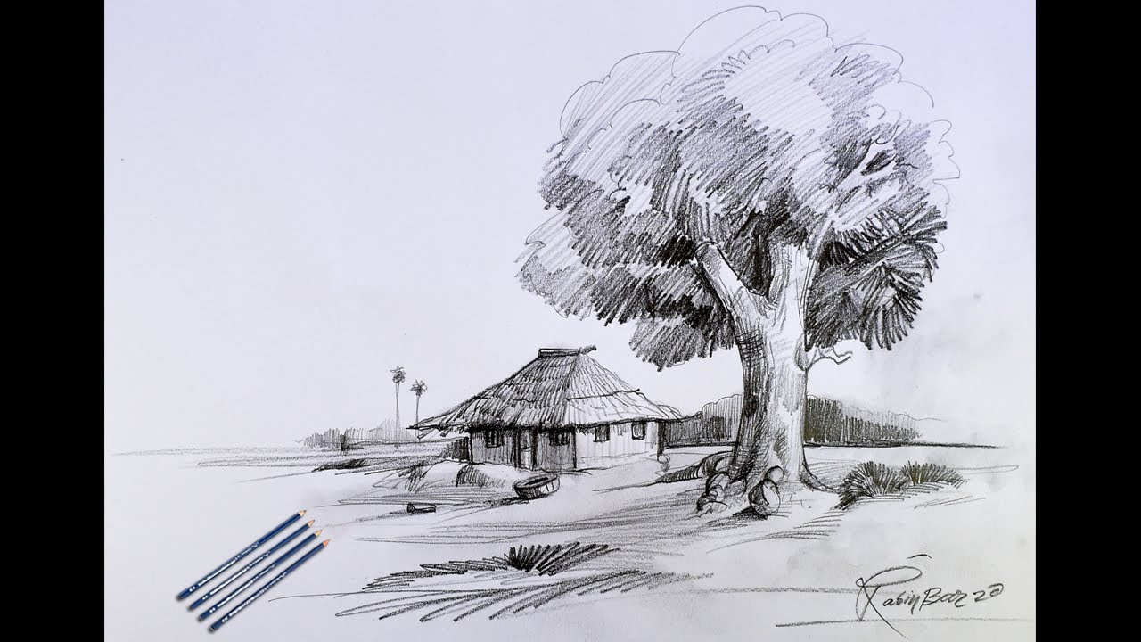pencil sketch tutorial I Easy Landscape Scenery Step-by-step I by Speed Painter Rabin Bar