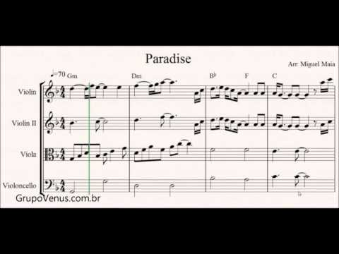 Paradise Coldplay Free Sheet Music For Violin And String Quartet
