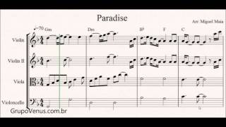 Paradise Coldplay - Free Sheet Music for Violin and String Quartet - Piano olny Chords
