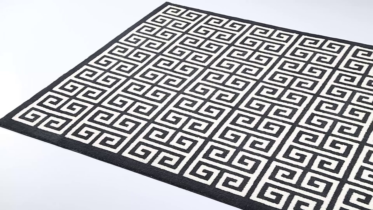 Freydis Greek Key Area Rug In Black And White