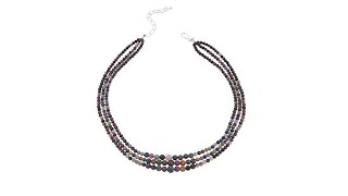 """Jay King 3Strand Colors of Sapphire 18"""" Sterling Silver ..."""