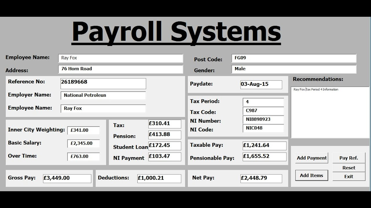 How to create Payroll Systems in Excel using VBA - Tutorial 1 ...
