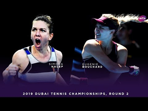 Simona Halep vs. Eugenie Bouchard   2019 Dubai Second Round   WTA Highlights