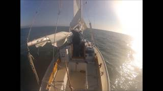 Taking in sail - hove to - without an engine