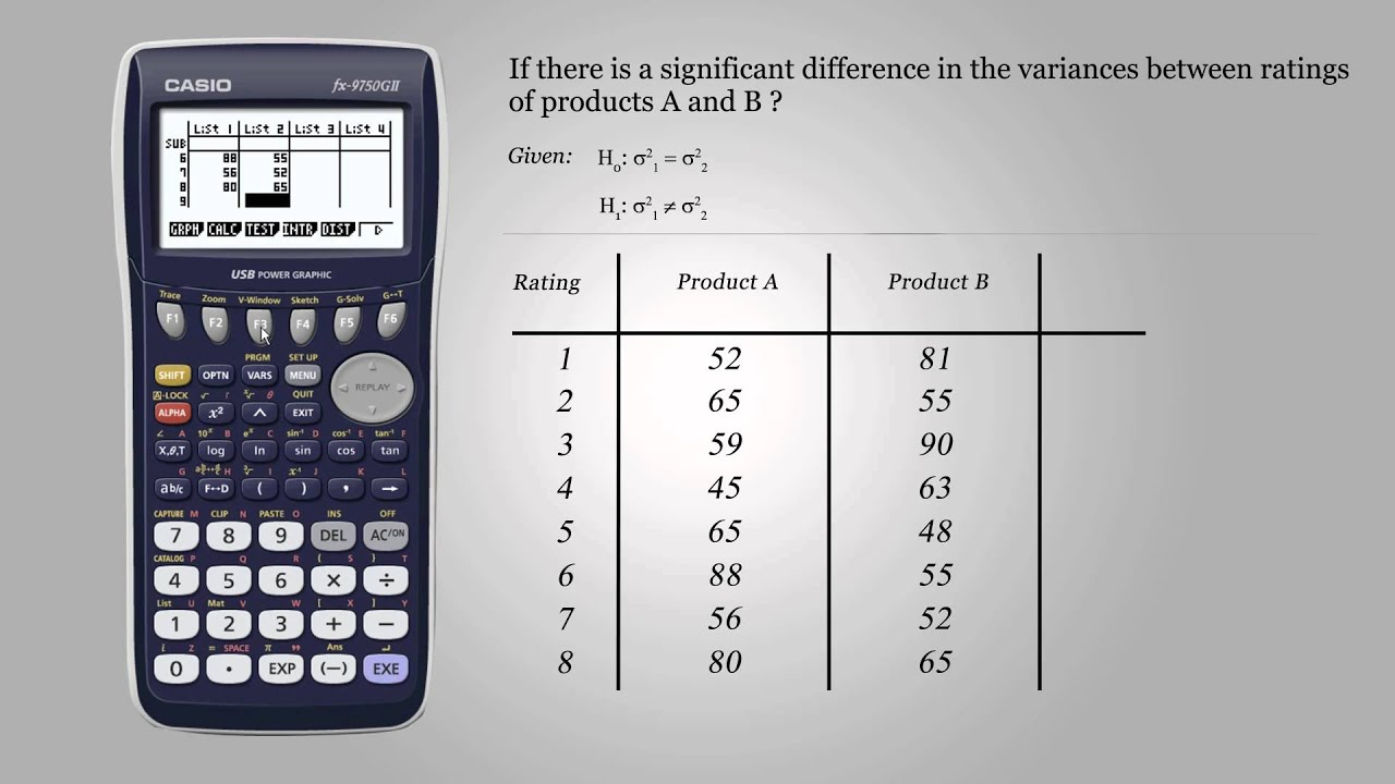 how to find f test statistic on calculator