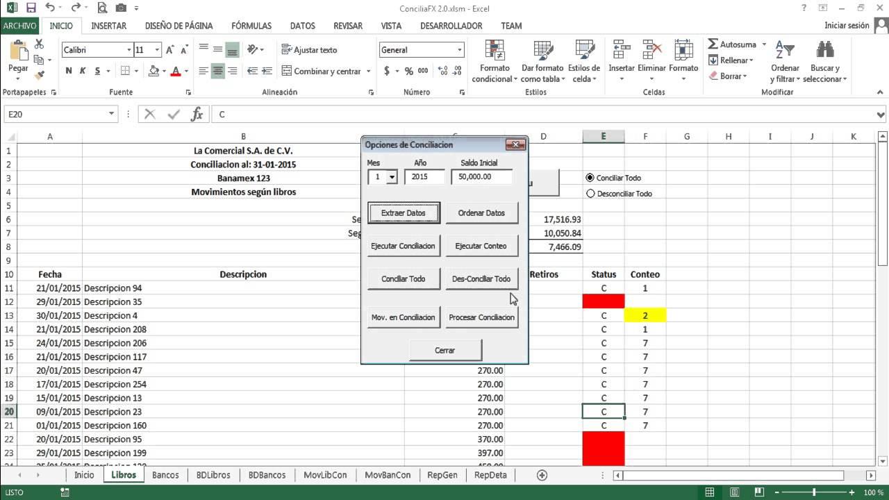 conciliacion bancaria en excel - conciliafx 2 0