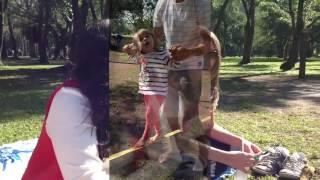 Slack line em família - Parque do Ibirapuera - São Paulo -