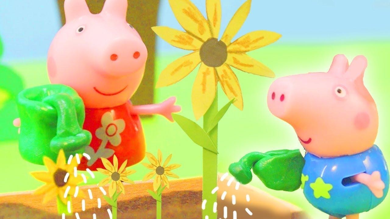 Peppa Pig's Giant Sunflower | Peppa Pig Stop Motion | Peppa Pig Toys | Toys fir Kids