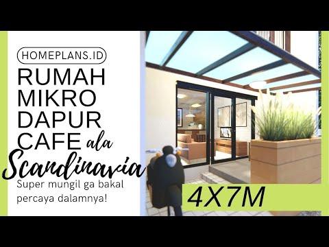 DESAIN RUMAH MIKRO ala SCANDINAVIA dengan bar unik dan Rooftop Lahan 4x7m [kode 087]