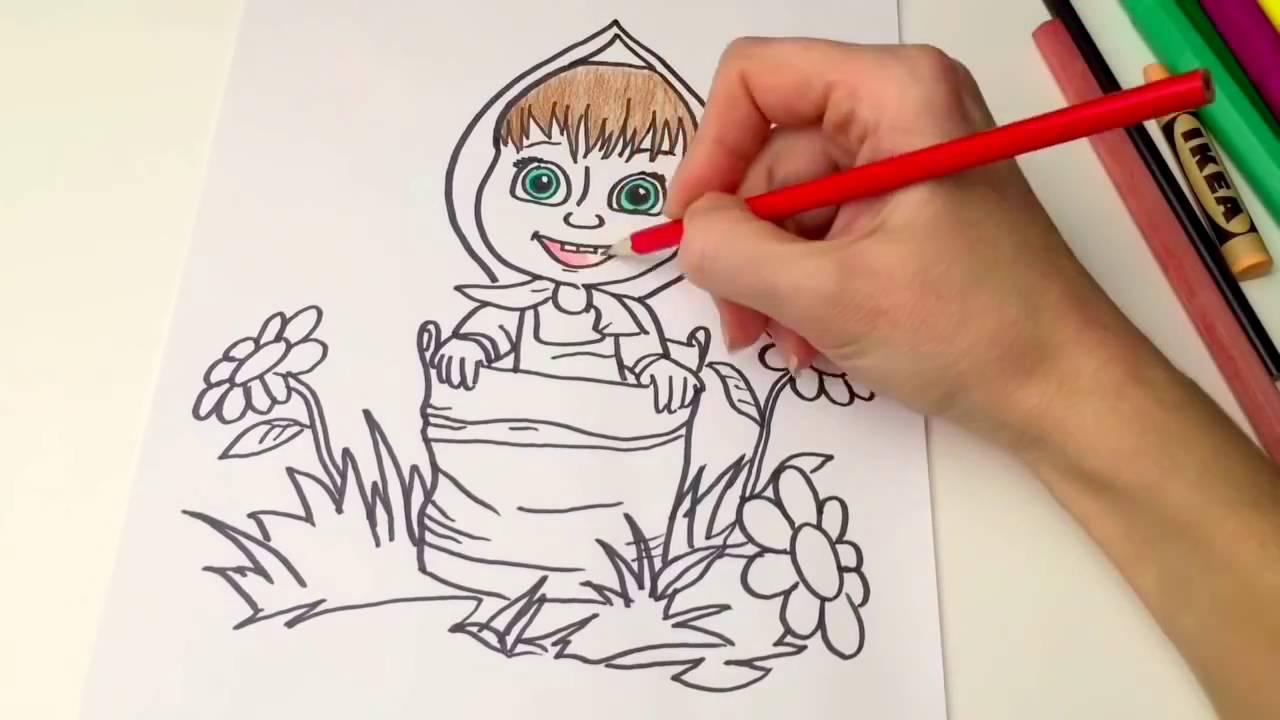 Маша и Медведь раскраска мультик для детей Masha and the ...