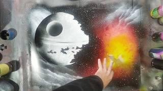 звездные войны рисуем картину баллончиками Spray paint art