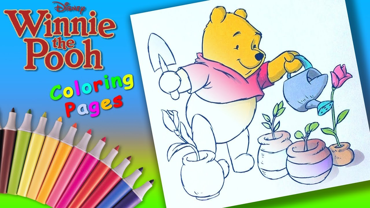 Winnie the Pooh Coloring book Pages For Children Bear Gardener Colouring
