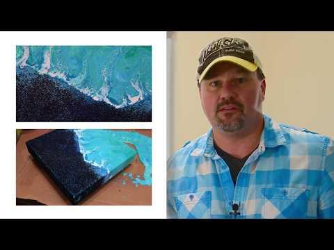 Black & Blue Sand Dirty Pour Ocean Theme with Acrylic Treadmill Silicone Floetrol Using Swipe Techni