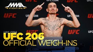 UFC 206 Official Weigh-In Video(At UFC 206 weigh-ins, all but three fighters made weight Friday morning in Toronto. Subscribe: http://goo.gl/dYpsgH Check out our full video catalog: ..., 2016-12-09T18:21:47.000Z)