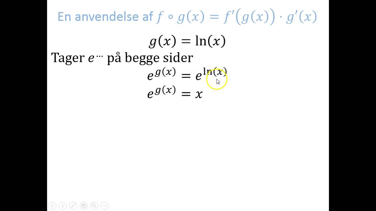 Regneregler - Anvendelse: g(x) = ln(x)