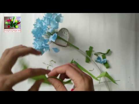 DIY   How to make paper flower - Hydrangea   Lam hoa Cam Tu cau bang giay nhun