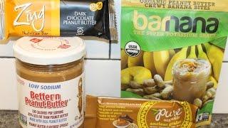 Better'n Peanut Butter, Zing Dark PB Bar, Barnana PB Banana Bites, Pure Organic PB Chocolate Bar