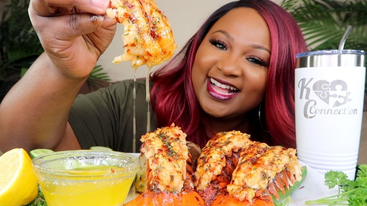 SPICY BROILED LOBSTER TAILS , SEAFOOD BOIL MUKBANG 먹방쇼 シーフード
