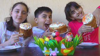 Guka Nastya and Maria are preparing for Easter