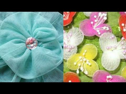 Net Flower Making Diy How To Make Net Febric Flower Youtube