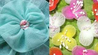 Net flower making DIY| how to make net febric flower