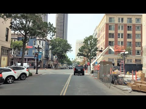 Driving Downtown - San Diego's Gaslamp District 4K - USA