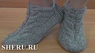 Теплые носки спицами без швов Урок 150