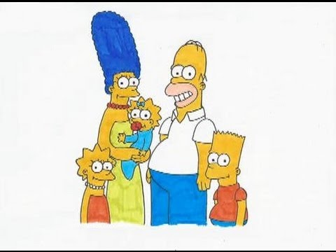 How to draw the simpsons homer marge lisa bart maggie - Marge simpson et bart ...