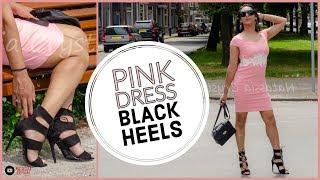 Crossdresser - pink dress with black strappy heeled sandals   NatCrys