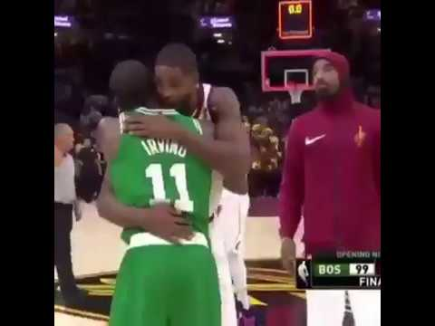 Lebron James & Kyrie Irving Hug at End of NBA game - Video Footage
