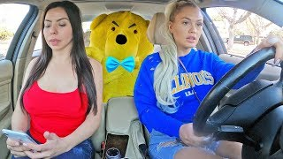 TEDDY BEAR COMES TO LIFE IN CAR PRANK ON GIRLFRIEND AND SISTER.. (cute reaction)