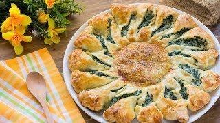 Girasole di Pasta Sfoglia con Ricotta e Spinaci  - Easy Puff Pastry Recipe Ideas - 55Winston55