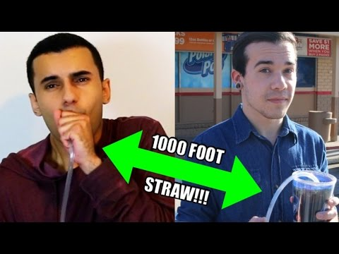 DRINKING COKE WITH A 1000FT STRAW!! CHALLENGE!!