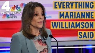 Everything Marianne Williamson Said During the Democratic Debate | NBC New York