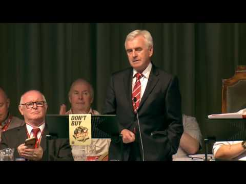 John McDonnell MP receives standing ovation at BFAWU conference