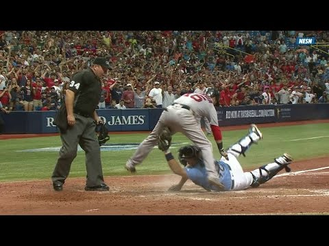 BOS@TB: Pedroia ruled safe at home, call confirmed