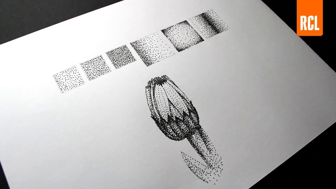 Desenho De Uma Flor Com Tecnica De Pontilhismo Youtube